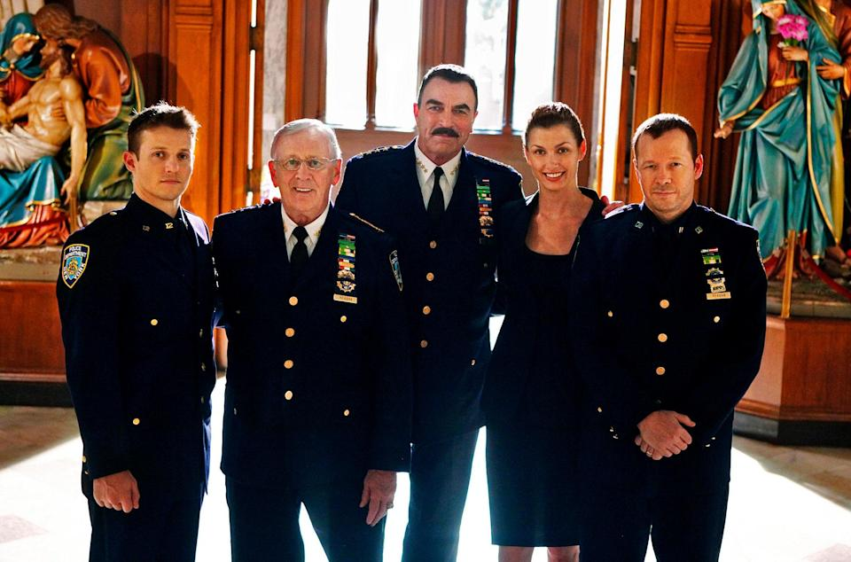 Will Estes, Lou Cariou, Tom Selleck, Bridget Moynahan and Donnie Wahlberg on the set of CBS's Blue Bloods