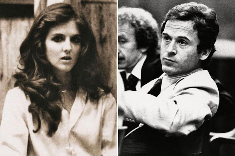 From left: Carol DaRonch testifying against Ted Bundy in court | Rex/Shutterstock(2)