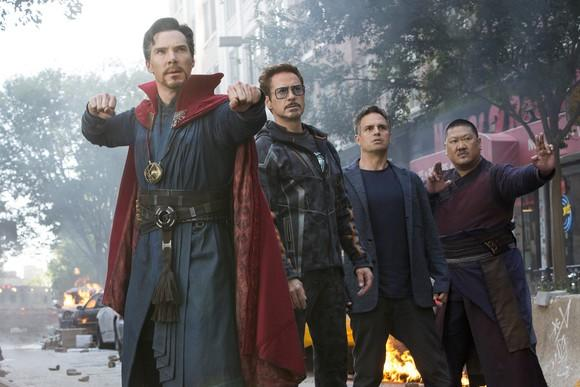 Dr. Strange, Iron Man, Bruce Banner, and Wong in a scene from Avengers: Infinity War.