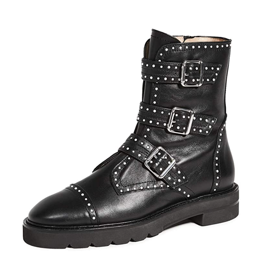 This edgy Stuart Weitzman pair of boots is guaranteed to turn heads. The studded leather, strap detailing, and chunky soles do all of the heavy lifting for your outfit. (Don't let the buckles fool you—these winter boots actually zip right up.)