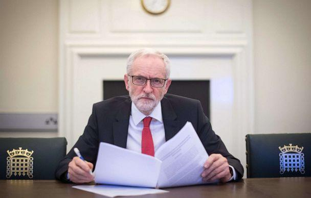 PHOTO: Labour leader Jeremy Corbyn poses with the Political Declaration setting out the framework for the future UK-EU relationship, in his office in the Houses of Parliament on April 2, 2019 in London, England. (Stefan Rousseau/WPA Pool/Getty Images)