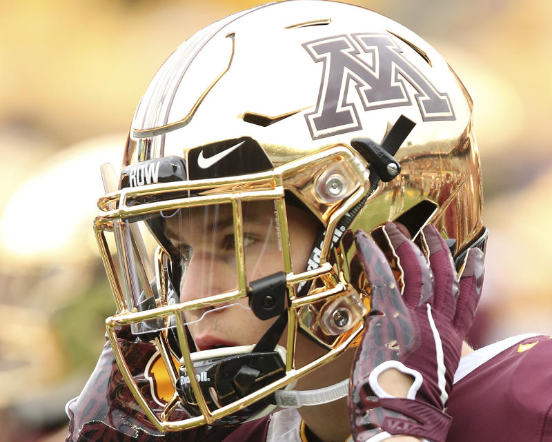 Minnesota wide receiver Clay Geary is now on scholarship. (AP Photo/Stacy Bengs)