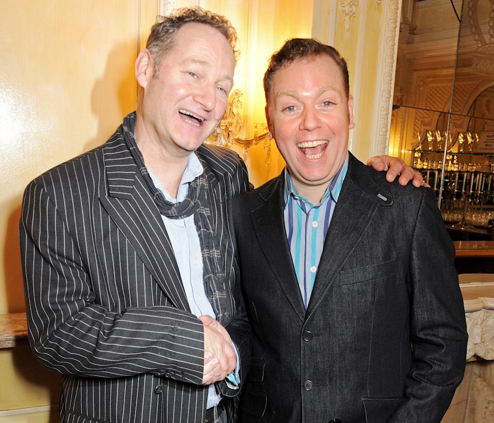 LONDON, ENGLAND - FEBRUARY 12: (EMBARGOED FOR PUBLICATION IN UK TABLOID NEWSPAPERS UNTIL 48 HOURS AFTER CREATE DATE AND TIME. MANDATORY CREDIT PHOTO BY DAVE M. BENETT/GETTY IMAGES REQUIRED) Richard Bean (L) and Rufus Hound attend an after party celebrating the new cast of 'One Man, Two Guvnors' at the Theatre Royal Haymarket on February 12, 2013 in London, England. (Photo by Dave M. Benett/Getty Images)