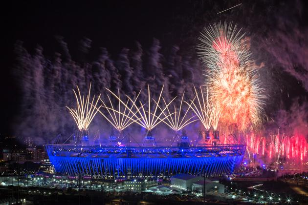 Fireworks explode over the Olympic Stadium during the opening ceremony of the London 2012 Olympic Games on July 27, 2012 in London, England. Athletes, heads of state and dignitaries from around the world have gathered in the Olympic Stadium for the opening ceremony of the 30th Olympiad. London plays host to the 2012 Olympic Games which will see 26 sports contested by 10,500 athletes over 17 days of competition. (Photo by Daniel Berehulak/Getty Images)