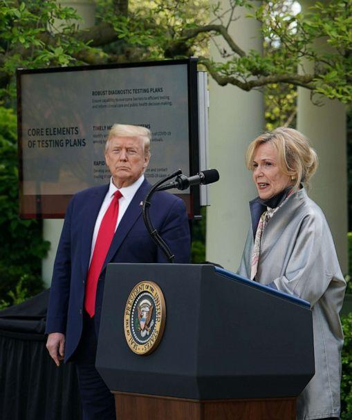 PHOTO: In this April 27, 2020, file photo, response coordinator for White House Coronavirus Task Force Deborah Birx speaks as President Donald Trump listens during a news conference in the Rose Garden of the White House in Washington, DC. (Mandel Ngan/AFP via Getty Images, FILE)