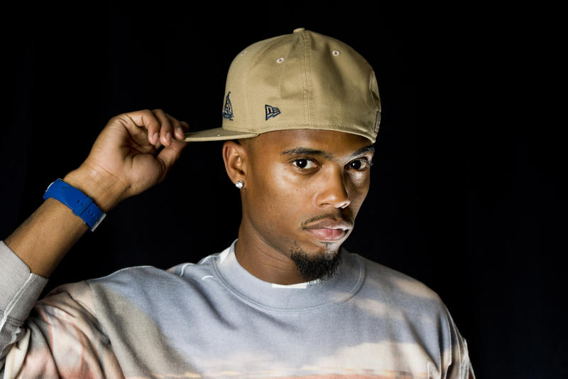 "In this April 30, 2012 photo, Atlanta-based recording artist B.o.B poses for a portrait in New York. B.o.B released his sophomore album ""Strange Clouds,"" on Tuesday. (AP Photo/Charles Sykes)"