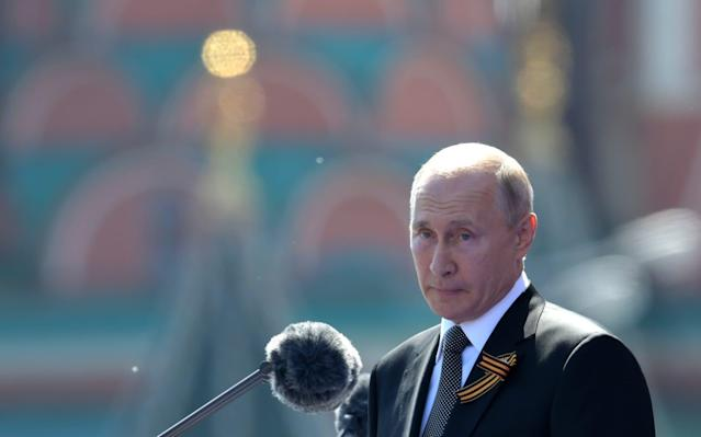 President of Russia and Commander-in-Chief of the Armed Forces Vladimir Putin makes a speech in Red Square during a Victory Day military parade - Getty