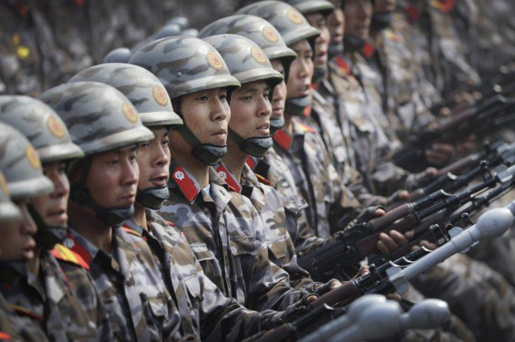 North Korea soldiers take part in a display of military might in Pyongyang (AP)