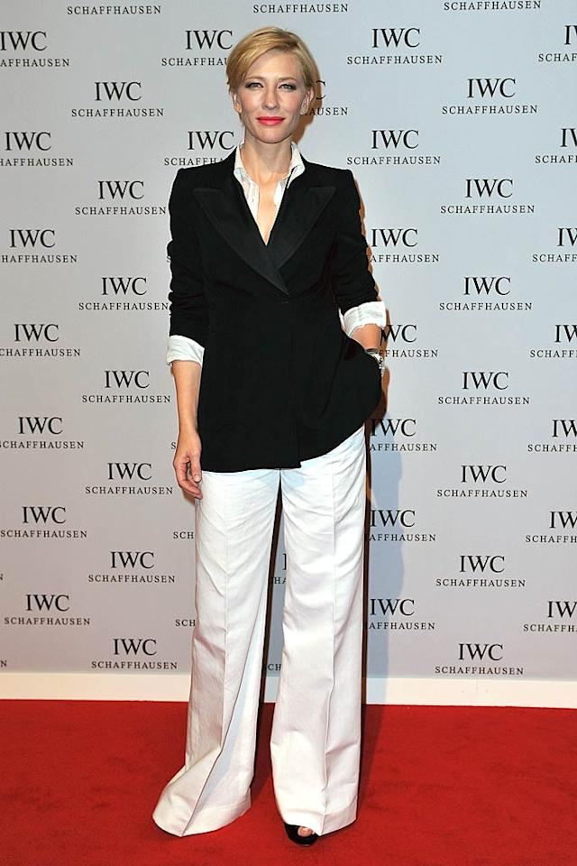 """Cate Blanchett is a fan of menswear-inspired ensembles, as are we. Do you like the Dries van Noten getup the Aussie actress wore to the International Fine Watch makers' exhibition in Geneva, Switzerland? The Image Gate/<a href=""""http://www.gettyimages.com/"""" target=""""new"""">GettyImages.com</a> - January 18, 2011"""
