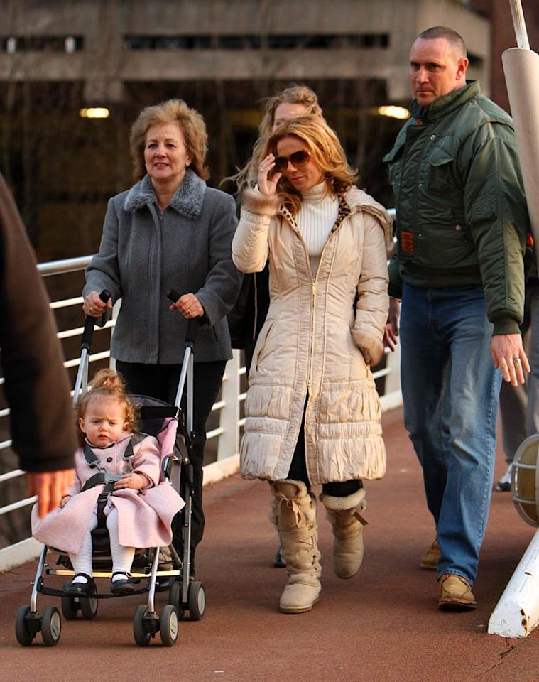 """Who needs a babysitter when you have grandma? Spice Girl Geri Halliwell enjoyed a break while her mother Ana Maria steered 20-month-old Bluebell Madonna's stroller on Thursday. Pete Goddard/<a href=""""http://www.splashnewsonline.com"""" target=""""new"""">Splash News</a> - January 24, 2008"""