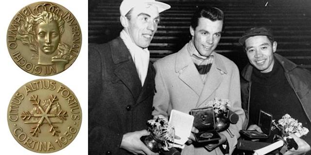 <p>The 1956 medal depicts the Olympic flame behind a woman's head with a crown of five Olympic rings. The VII Olympic Winter Games were held in Cortina d'Ampezzo, Italy.<br>(IOC photo; Winners of Men's Slalom, (L-R) Sweden's Stig Sollander (bronze), Austria's Tony Sailer (gold); and Japan's Chiharu Chick Igaya (silver)/AP Photo) </p>