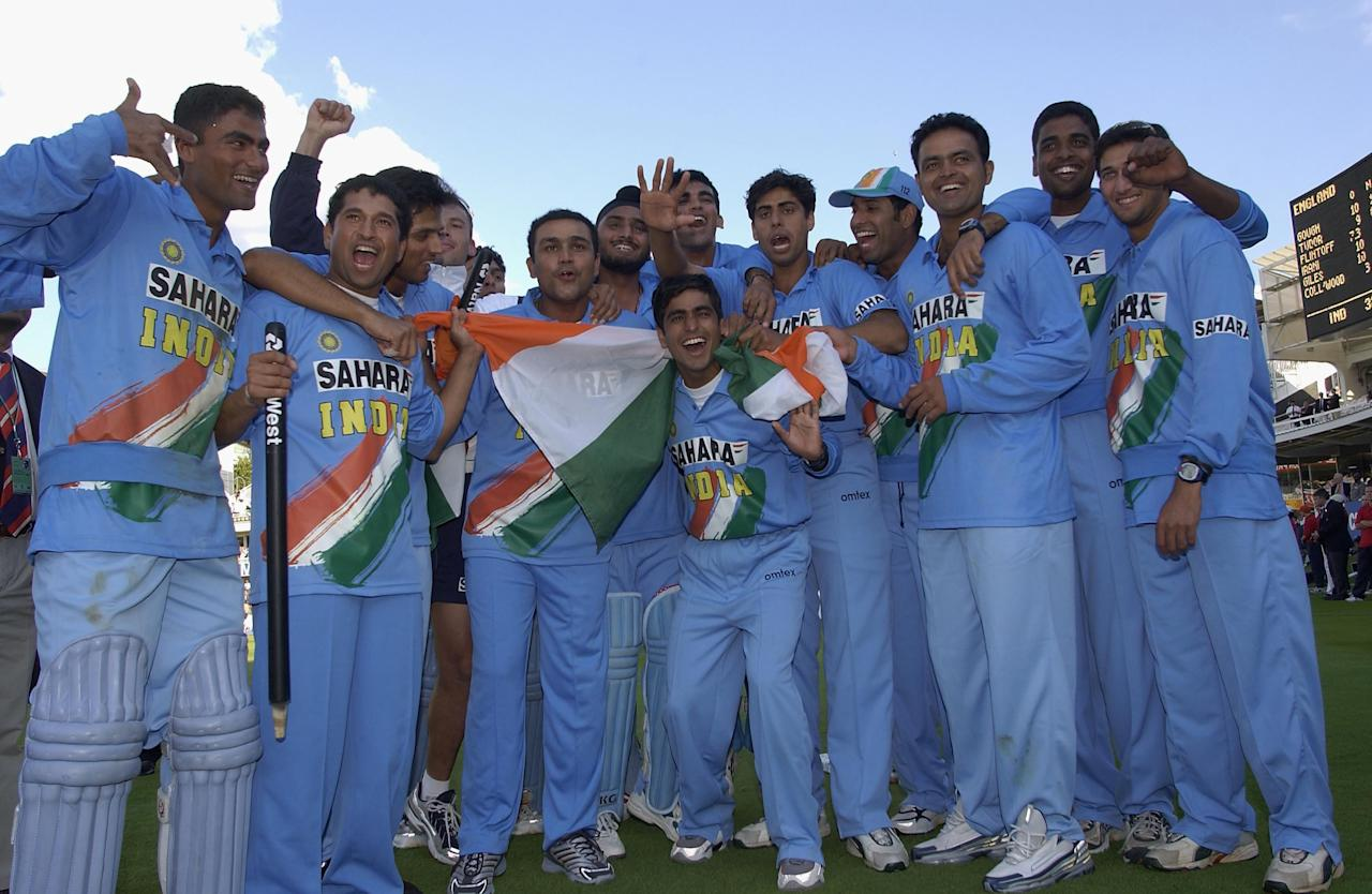 LONDON, ENGLAND - JULY 13:  India celebrate their win during the match between England and India in the NatWest One Day Series Final at Lord's in London, England on July 13, 2002. (Photo by Tom Shaw/Getty Images)
