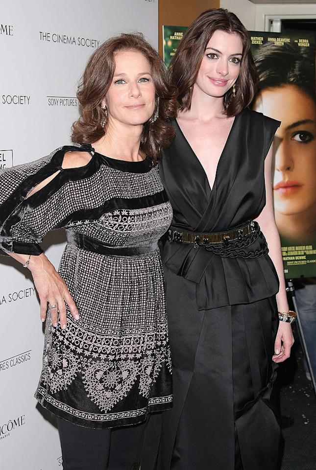 """<a href=""""http://movies.yahoo.com/movie/contributor/1800035227"""">Debra Winger</a> and <a href=""""http://movies.yahoo.com/movie/contributor/1804705919"""">Anne Hathaway</a> at the Cinema Society New York City premiere of <a href=""""http://movies.yahoo.com/movie/1809961213/info"""">Rachel Getting Married</a> - 09/25/2008"""