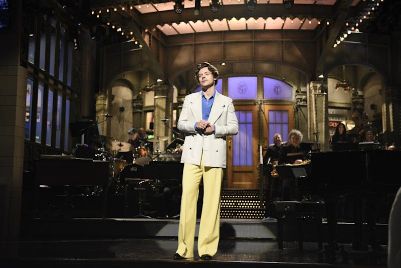 """SATURDAY NIGHT LIVE -- """"Harry Styles"""" Episode 1773 -- Pictured: Host Harry Styles during the monologue on Saturday, November 16, 2019 -- (Photo by: Will Heath/NBC/NBCU Photo Bank via Getty Images)"""