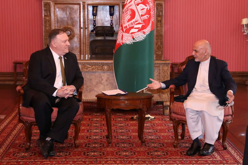 Afghanistan's President Ashraf Ghani meets with U.S. Secretary of State Mike Pompeo in Kabul