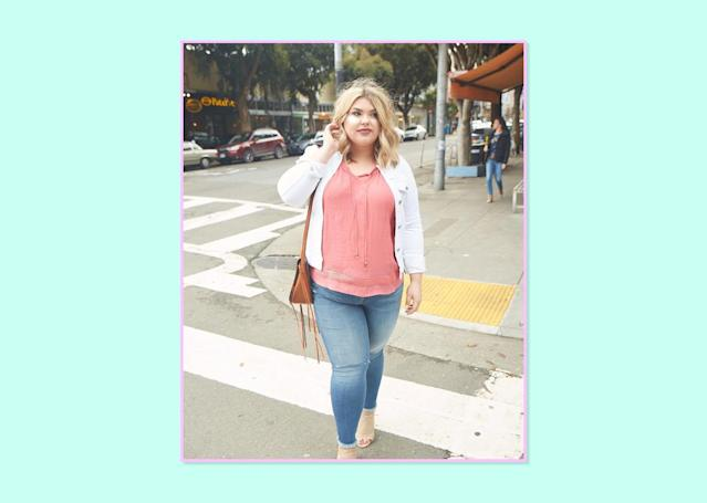 """<p><strong>Alexandra Thomas, <a href=""""http://shop.nordstrom.com/s/kut-from-the-kloth-reese-stretch-uneven-hem-ankle-skinny-jeans-participation-plus-size/4586963?origin=category-personalizedsort&fashioncolor=PARTICIPATION"""" rel=""""nofollow noopener"""" target=""""_blank"""" data-ylk=""""slk:Learning to Be Fearless"""" class=""""link rapid-noclick-resp"""">Learning to Be Fearless</a></strong><br> My favorite go-to jeans have to be these Reese stretch pair of denim from Kut from the Kloth. Never have I stepped into a pair of jeans and felt more at home. These have the perfect amount of stretch while still feeling like solid jeans. I don't have a classic hourglass figure, and sometimes jeans tend to have more fabric around the hips than I need, but these hug me just right. They make the booty pop! I love the lift these jeans give, and they're super trendy. Great for spring. I can dress them up or down and still feel like I'm super stylish.<br>Kut from the Kloth Reese Stretch Uneven Hem Ankle Skinny Jeans, $98, <a href=""""http://shop.nordstrom.com/s/kut-from-the-kloth-reese-stretch-uneven-hem-ankle-skinny-jeans-participation-plus-size/4586963?origin=category-personalizedsort&fashioncolor=PARTICIPATION"""" rel=""""nofollow noopener"""" target=""""_blank"""" data-ylk=""""slk:Nordstrom"""" class=""""link rapid-noclick-resp"""">Nordstrom</a> </p>"""