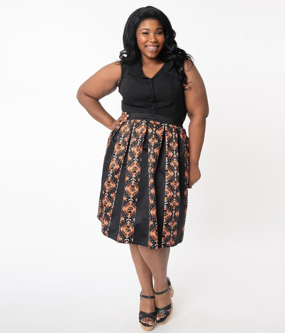 "<p>Complete with black cats, skulls, and bats, this <span>Unique Vintage Plus Size Black and Orange Halloween Print Jayne Swing Skirt</span> ($68) is a <a class=""link rapid-noclick-resp"" href=""https://www.popsugar.com/Halloween"" rel=""nofollow noopener"" target=""_blank"" data-ylk=""slk:Halloween"">Halloween</a> necessity.</p>"