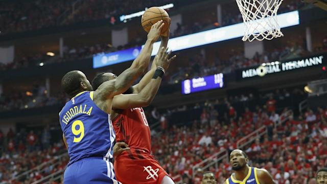 James Harden led the Houston Rockets, who levelled their series against the Golden State Warriors.