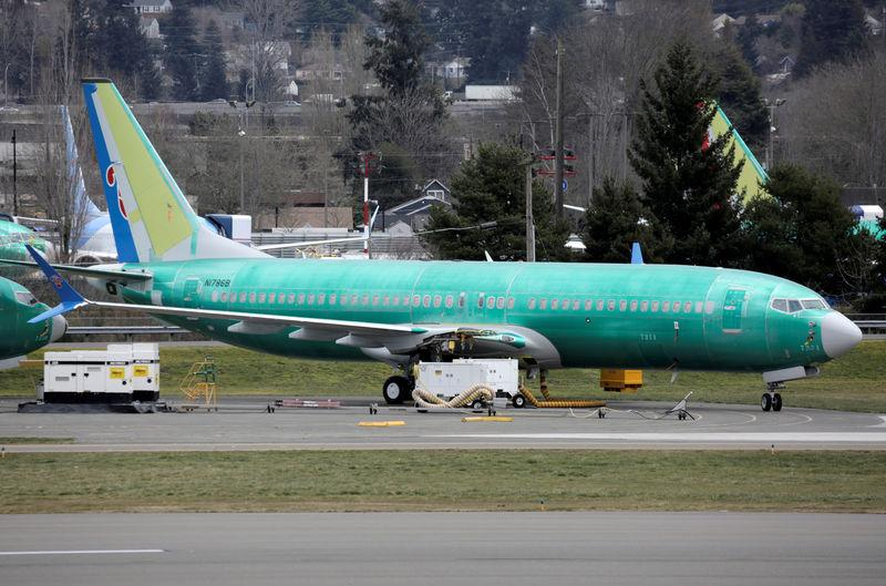 FILE PHOTO: A Boeing 737 MAX 8 aircraft bearing the logo of China Southern Airlines is parked at a Boeing production facility in Renton
