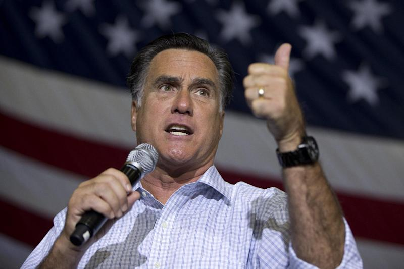 Republican presidential candidate, former Massachusetts Gov. Mitt Romney gestures as he speaks during a campaign rally, Wednesday, Sept. 26, 2012, in Westerville, Ohio.  (AP Photo/ Evan Vucci)