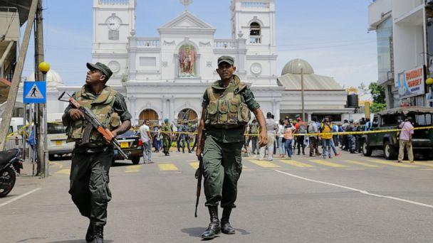 PHOTO: ri Lankan Army soldiers secure the area around St. Anthony's Shrine after a blast in Colombo, Sri Lanka, Sunday, April 21, 2019. (AP Photo/Eranga Jayawardena)