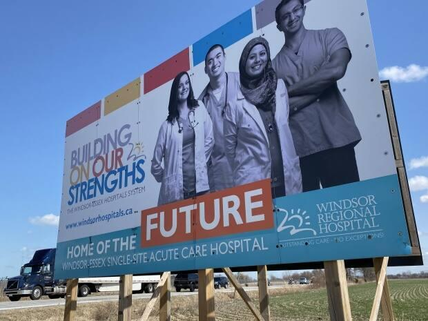 The mega-hospital will sit on 60 acres of land across from Windsor International Airport. (Dan Taekema/CBC - image credit)