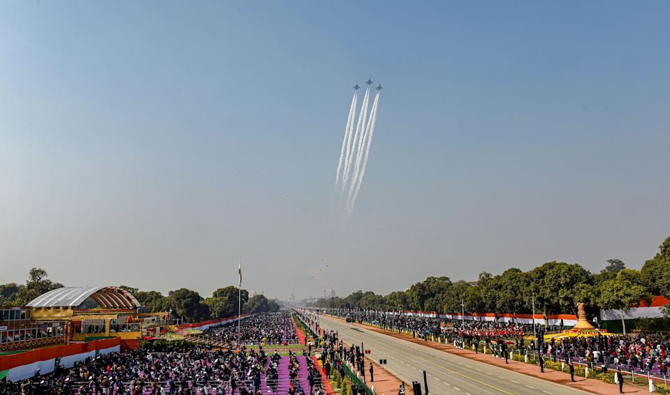 New Delhi: Indian Air Force (IAF) Su-30 fighter jets perform a fly past during the 72nd Republic Day celebrations at Rajpath, in New Delhi, Tuesday, Jan. 26, 2021.