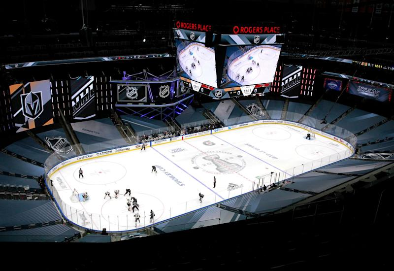 The Vegas Golden Knights and the Arizona Coyotes play in an exhibition game at Rogers Place in Edmonton, Canada.