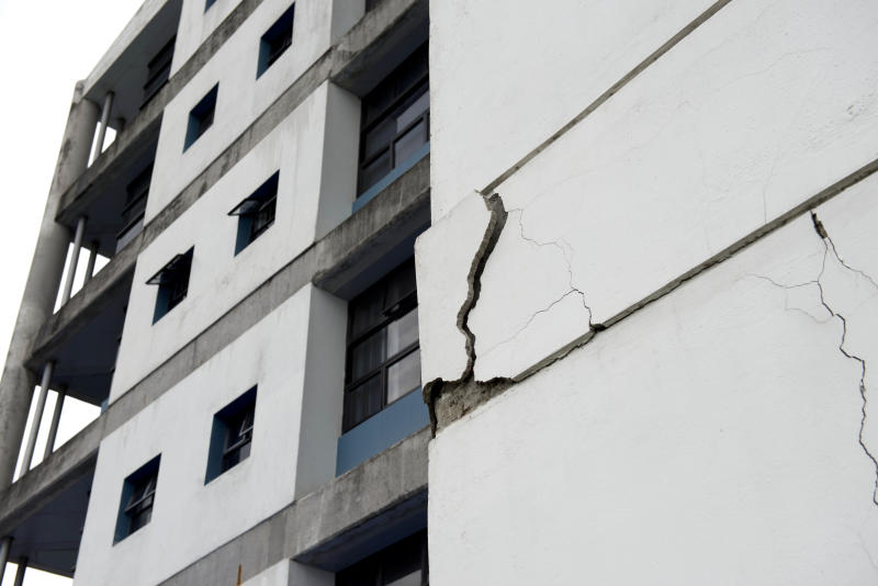 A wall at the University of Costa Rica's school of electrical engineering is damaged after an earthquake in San Jose, Costa Rica, Wednesday, Sept. 5, 2012. A powerful, magnitude-7.6 earthquake shook Costa Rica and a wide swath of Central America on Wednesday. (AP Photo/Thomas Dooley)