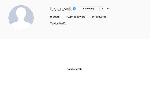 Taylor Swift's Instagram is now a clean slate. (Photo: Taylor Swift via Instagram)
