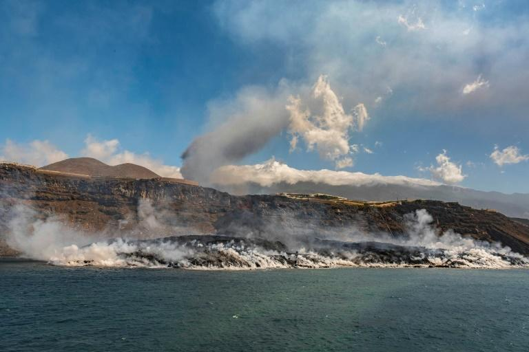 Such has been the level of destruction over the past fortnight since the eruption began that locals fear for the economic future of the island (AFP/Instituto Espanol de Oceanografia)