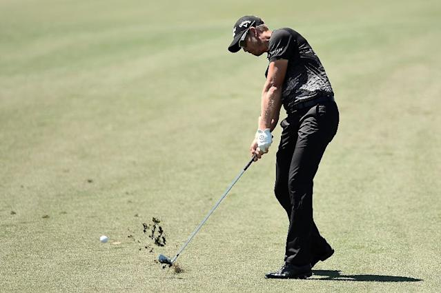 Henrik Stenson of Sweden hits his second shot on the eighth hole during the second round of the Shell Houston Open at the Golf Club of Houston on March 31, 2017 in Humble, Texas (AFP Photo/Stacy Revere)