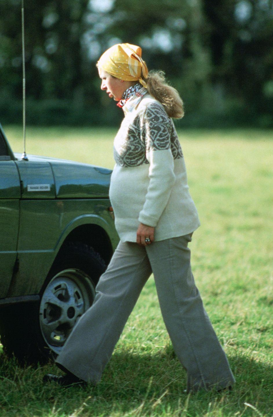 <p>Attending the Knowlton Horse Trials while expecting her first child.</p>