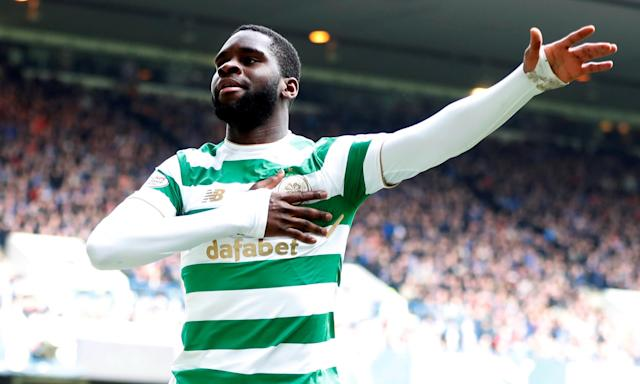 Odsonne Édouard celebrates scoring Celtic's third goal in their 3-2 Old Firm victory at Ibrox.