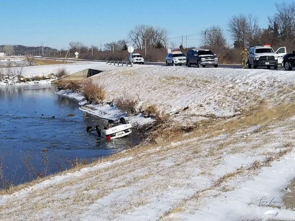 PHOTO: A car sits overturned in an icy pond in Bellevue, Neb., on Jan. 11, 2020. (Courtesy Terry Ingram)