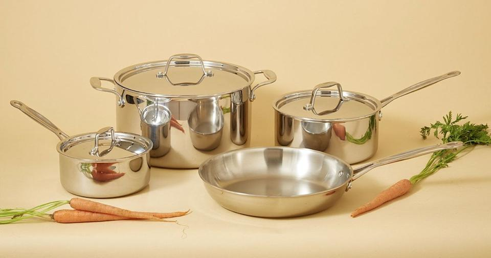 """<h2>Cookware Set</h2><br>Top chefs rejoice; you're go-to cooking must-haves are here and available in one set. It comes with a stockpot, saucepans, a skillet, and plenty of lids. <br><br><strong>Potluck</strong> Cookware Set, $, available at <a href=""""https://go.skimresources.com/?id=30283X879131&url=https%3A%2F%2Fcookpotluck.com%2Fproducts%2Fcookware-set"""" rel=""""nofollow noopener"""" target=""""_blank"""" data-ylk=""""slk:Potluck"""" class=""""link rapid-noclick-resp"""">Potluck</a>"""