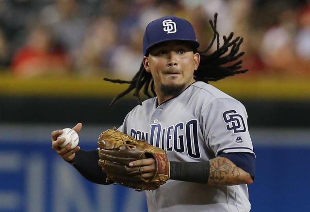 San Diego Padres shortstop Freddy Galvis (13) in the seventh inning during a baseball game against the Arizona Diamondbacks, Monday, Sept. 3, 2018, in Phoenix. (AP Photo/Rick Scuteri)