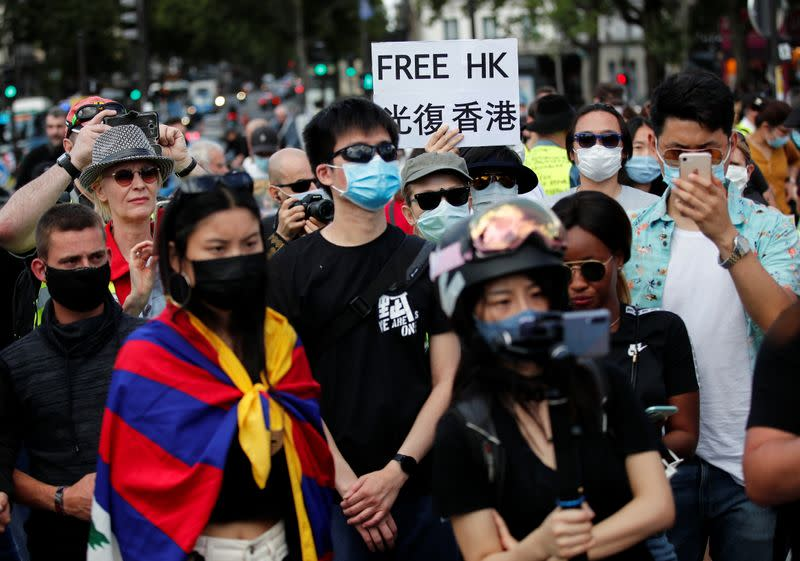 People demonstrate in support of Hong Kong protesters opposed to China's national security law, in Paris