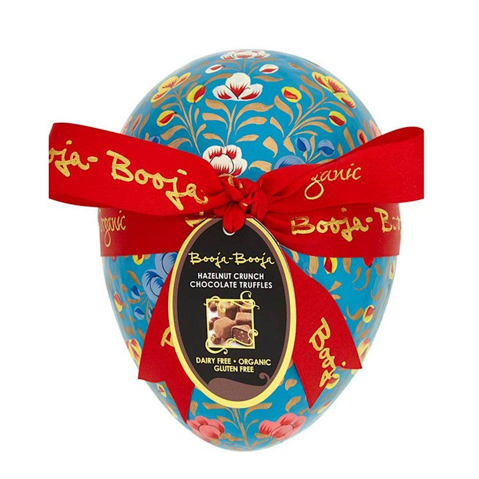 """<p>If bouji is more your style, go for this beautiful decorated egg from Booja Booja. It contains 12 gourmet hazelnut truffles, and yeah - they're delish. </p><p>Large hazelnut crunch Easter egg, £23.50, Booja Booja</p><p><a class=""""link rapid-noclick-resp"""" href=""""https://www.healthysupplies.co.uk/hazelnut-crunch-large-easter-egg-booja-booja.html?gclid=EAIaIQobChMI0uK2h_vq4AIVHksNCh2ZxwD5EAQYDCABEgJ5iPD_BwE"""" rel=""""nofollow noopener"""" target=""""_blank"""" data-ylk=""""slk:BUY NOW"""">BUY NOW</a></p>"""