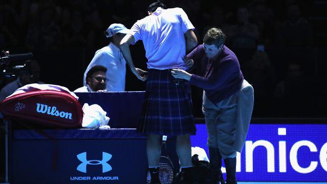 Federer needed some help with the kilt. Image: Getty
