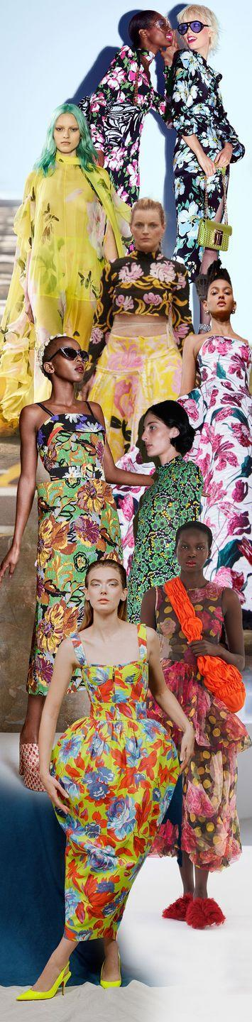 <p>How does your garden grow? The bolder, the brighter, and the more impactful seems to be the only way forward for spring. Designers certainly aren't here for wilting daisies; instead, they're bringing the floral motifs in sunny yellows, on neon tulip dresses, and on gala-worthy ball gowns in shades of pink so incandescent you'll need shades to look straight at them.</p><p><em>Pictured from top to bottom: Tom Ford, Valentino, Marni, Carolina Herrera, Duro Olowu, Kwaidan Editions, Molly Goddard, and Christopher John Rogers. </em></p>