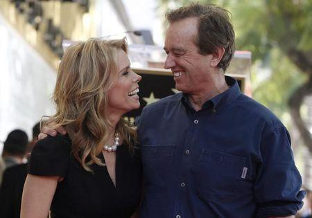 Actress Hines smiles at her boyfriend Kennedy Jr. during ceremonies honoring Hines with a star on the Hollywood Walk of Fame in Hollywood