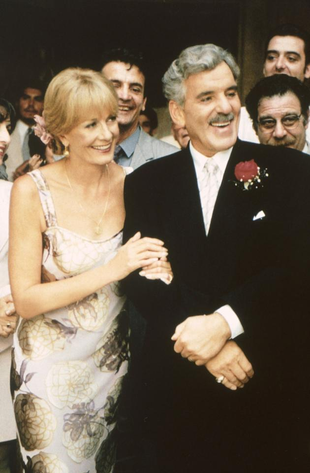 "Vanessa Redgrave and Dennis Farina in the 1997 TV movie, ""Bella Mafia."""