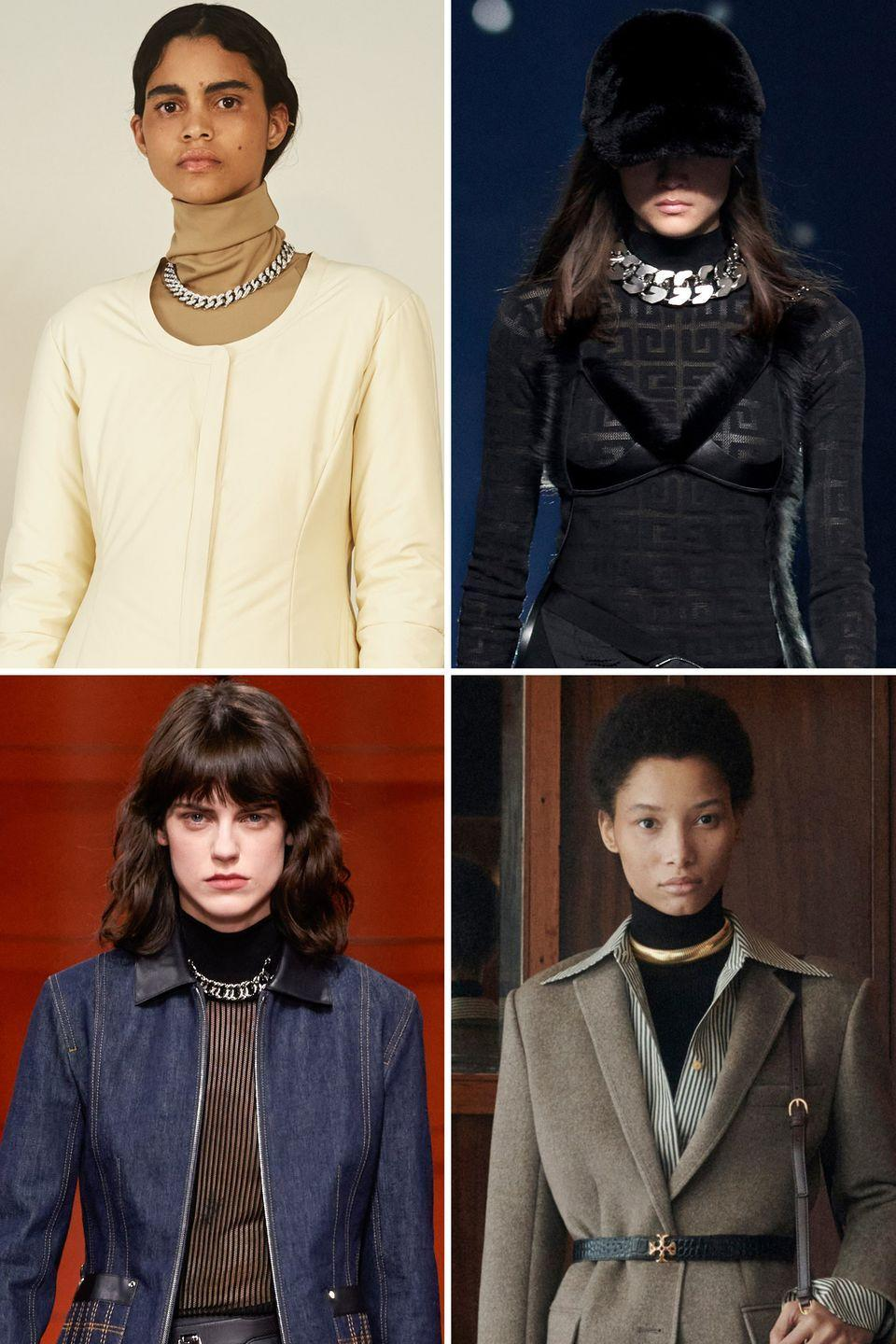<p>A heavy linked silver chain over a turtleneck has a bit of punk bourgeoisie edge. </p><p><strong>Insider tip: </strong>A close fit around the seam was the freshest take.</p><p><em>Pictured: Ambush, Givenchy, Hermes, Tory Burch</em></p>