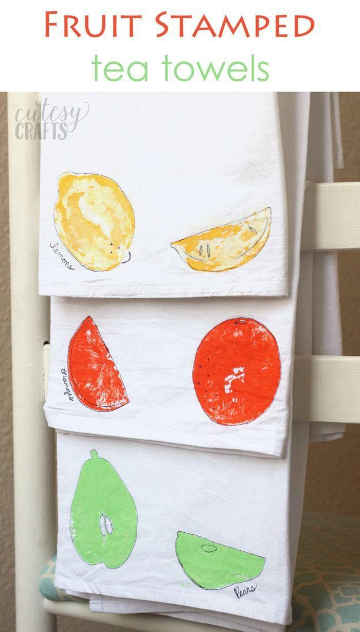 "<p>Get a colorful splash of citrus in the kitchen with an easy stamping project. You make the stamp by putting paint on actual slices of fruit, and then outline everything in a black marker.</p><p> <em><a href=""https://cutesycrafts.com/2018/04/fruit-stamped-tea-towel-craft.html"" rel=""nofollow noopener"" target=""_blank"" data-ylk=""slk:Get the tutorial at Cutesy Crafts »"" class=""link rapid-noclick-resp"">Get the tutorial at Cutesy Crafts »</a></em></p>"