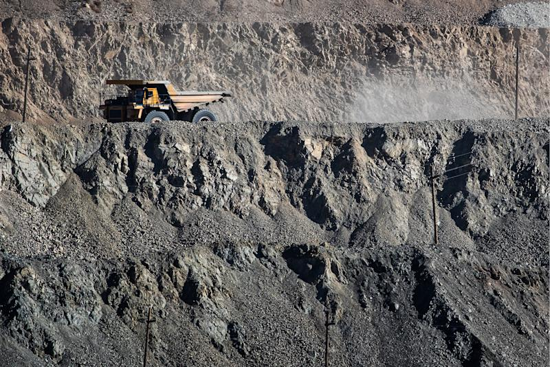 ERDENET, MONGOLIA - OCTOBER 11, 2018: A mining truck in a copper and molybdenum mine on the Erdenetiyn-ovoo deposit, operated by Erdenet Mining Corporation (EMC), a major manufacturer of copper concentrate and molybdenum concentrate. Sergei Bobylev/TASS (Photo by Sergei Bobylev\TASS via Getty Images)