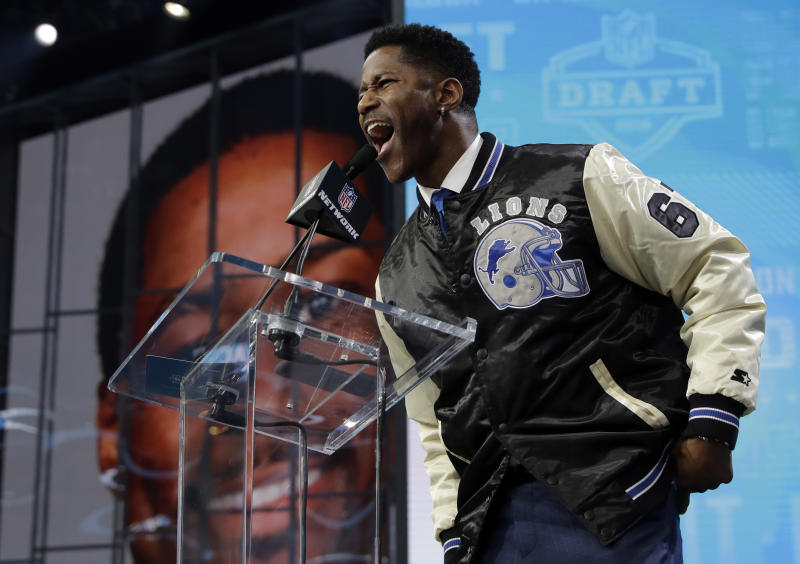Nate Burleson, announcing a selection in last month's draft, played an indirect role in one Jets rookie's career. (AP)