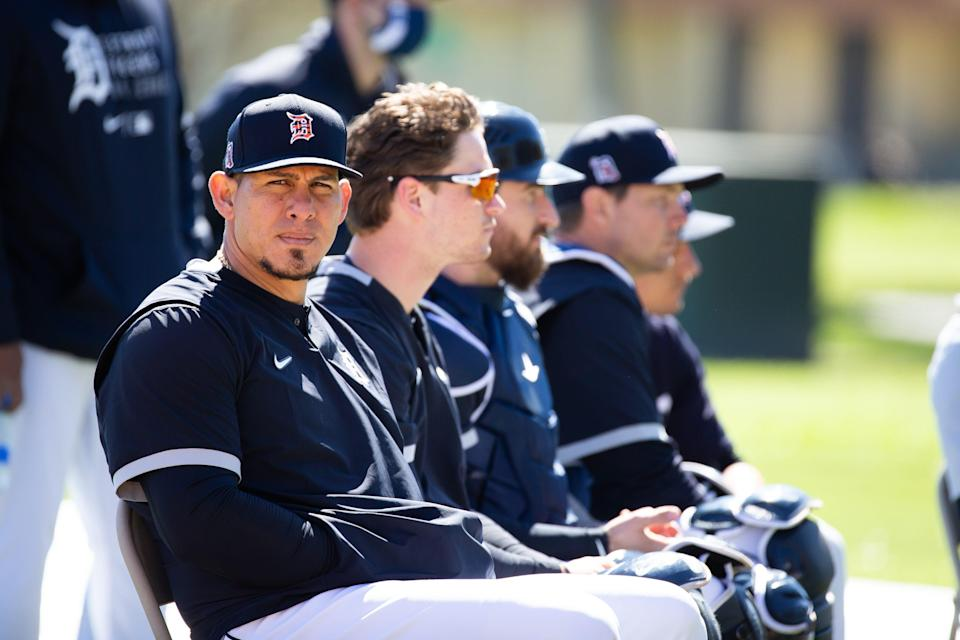Tigers catcher Wilson Ramos during a break in the workout at Joker Marchant Stadium in Lakeland, Florida, on Saturday, Feb. 20, 2021.