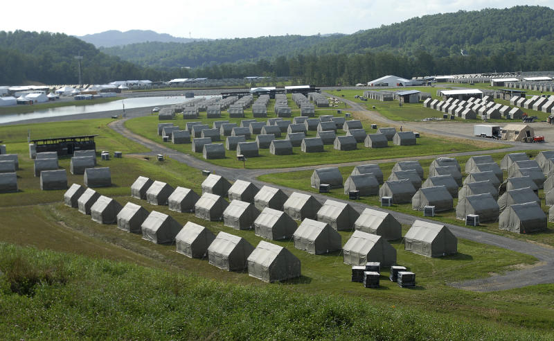 This Monday July 8, 2013 photo shows tents that will house staff members at the Summit Bechtel Family National Scout Reserve in Glen Jean, W.Va. Some 40,000 Scouts, leaders and others will descend on southern West Virginia for the first ever National Scout Jamboree at the site next week. (AP Photo/Charleston Daily Mail,Craig Cunningham)