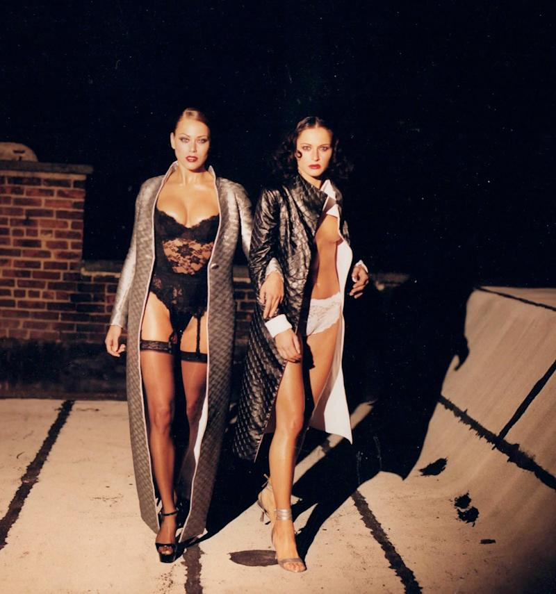 Melania (right) with fellow model Emma Eriksson during a 1995 photo shoot.